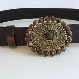 Accessories - BROWN LEATHER BELT WITH GOLD & BROWN BEADED BUCKLE